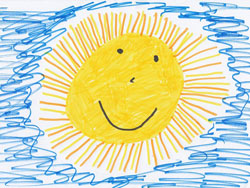 preschooler drawing of yellow smiling sunsun