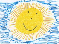 preschooler drawing of yellow smiling sunsun